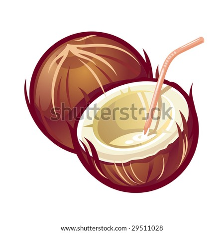 A vector stylized coconut with straw - stock vector