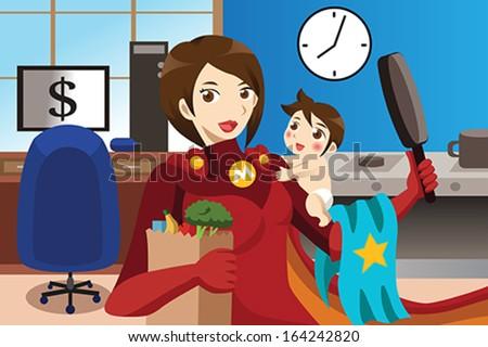 A vector superhero mom concept - stock vector