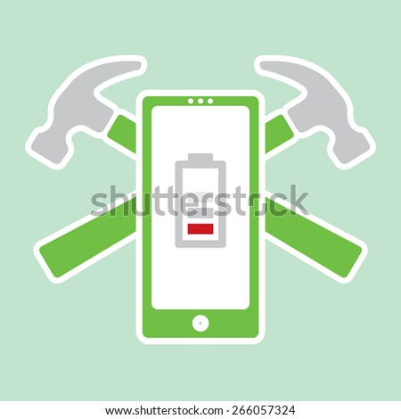 A vector symbol representing mobile phone repairs and service. Two hammers are crossed behind a mobile phone symbol with a low battery icon on it's screen. - stock vector