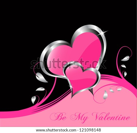 A vector valentines background  a large central hearts on a pink background - stock vector