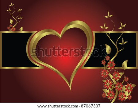 A vector valentines background with gold hearts on a deep red backdrop  with   room for text
