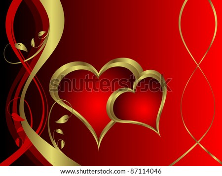 A vector valentines background with gold hearts on a deep red backdrop  with   room for text - stock vector