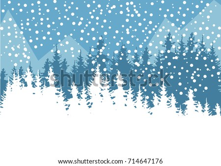 Vector winter illustration blue mountains on stock vector royalty a vector winter illustration of a blue mountains on the background and white forest on the m4hsunfo
