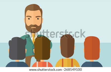 A very angry boss standing having a meeting to his employees facing him inside the office. Deadline and work Relationships business concept. A Contemporary style with pastel palette, soft blue tinted - stock vector