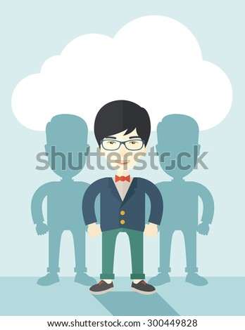 A very confident japanese guy standing straight showing that he has a strong teambuilding togetherness. Teamwork concept. A contemporary style with pastel palette soft blue tinted background with - stock vector