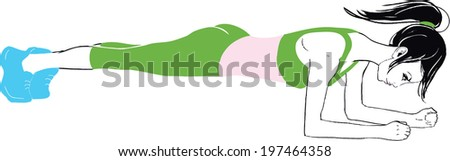 A very thin girl in beautiful green sport suit doing exercises  - stock vector