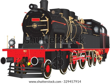 A Veteran Heavy Steam Freight Railway Locomotive isolated on white
