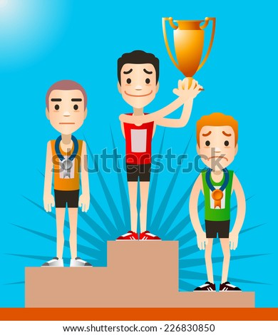 A view of the podium after a race, with each runner in its place. Winner holding cup standing on first place vector illustration.  - stock vector