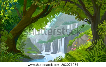 A view through a natural window of forest into the tranquilly of scenic water falls   - stock vector