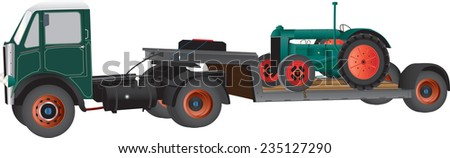 A Vintage Articulated Truck carrying an old Farm Tractor isolated on white