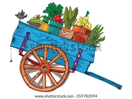 a vintage farmer cart - cartoon - stock vector