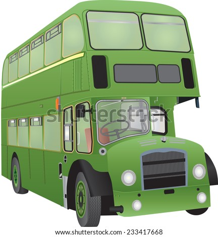 A Vintage Green Double Decker Bus isolated on White