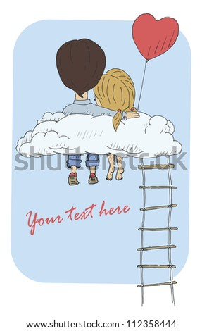A vintage postcard with a loving couple sitting on a cloud. Vector illustration - stock vector