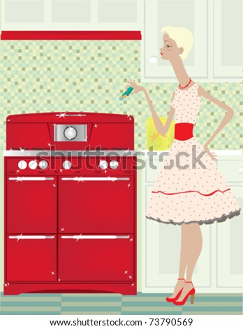 A vintage style woman with a sparkling stove, oh my! - stock vector