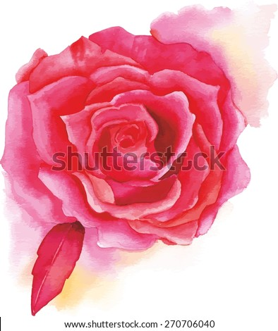 A vintage-styled watercolour red rose, scalable vector drawing - stock vector
