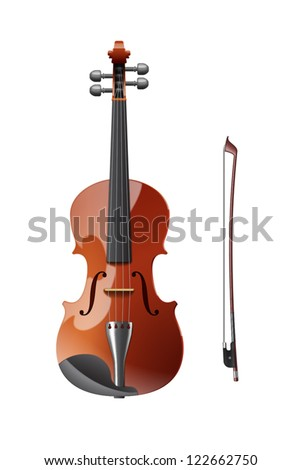 A violin with bow music instrument vector illustration isolated on white background - stock vector