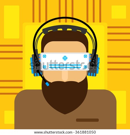 A virtual reality. virtual reality glasses to a man with a beard. Vector illustration of a flat. - stock vector