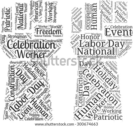 "A visual representation of the theme ""Labor day"" in a word tag cloud in a form of an abstract hand"