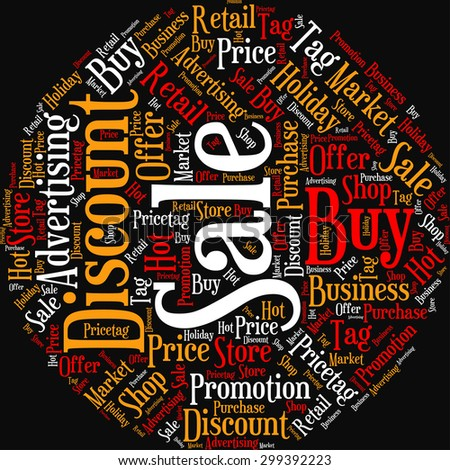 "A visual representation of the theme ""Sale"" in a word tag cloud"