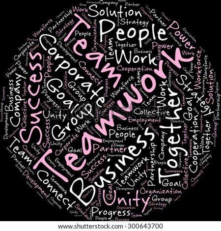 visual representation theme teamwork word tag stock vector 300643700