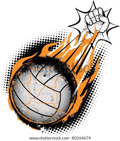 A volleyball being spiked so hard that it combusts