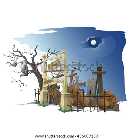 A vulture sits on a tree near the old cemetery. Vector. - stock vector