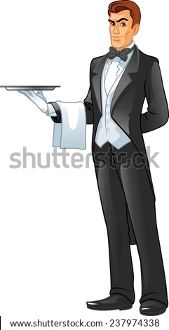A  waiter holding a tray isolated against white background - stock vector