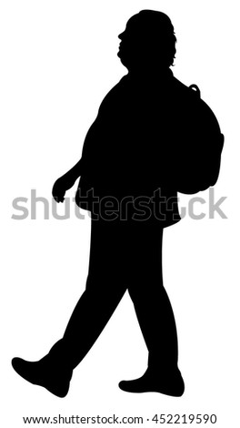 a walking fat man silhouette vector