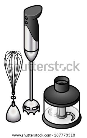 A wand/stick blender set with whisk and chopper attachments.