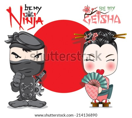 a warrior ninja and a lovely geisha in front of a Japanese flag - stock vector