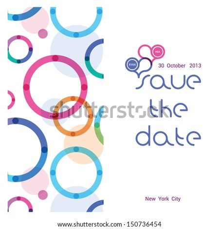 a wedding invitation with a bright pattern from circles - stock vector