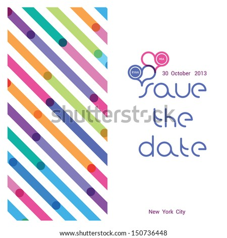 a wedding invitation with a bright pattern in a strip - stock vector