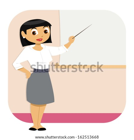 A well dressed business woman stands in a room to give a presentation. She points at the blank screen. The woman and the background are in different editable layers. - stock vector