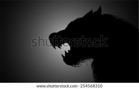 A werewolf lurking in the dark - stock vector