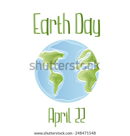 a white background with earth and text - stock vector