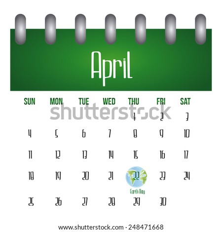 a white calendar with the earth day marked on it - stock vector