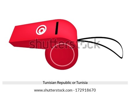 A White Circle Containing A Five-Pointed Star and Crescent on Red Field of The Tunisian Republic or Tunisia Flag on A Whistle, The Sport Concept and Political Symbol.