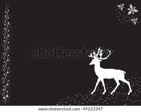 A white deer silhouette on the black background with a free place for text