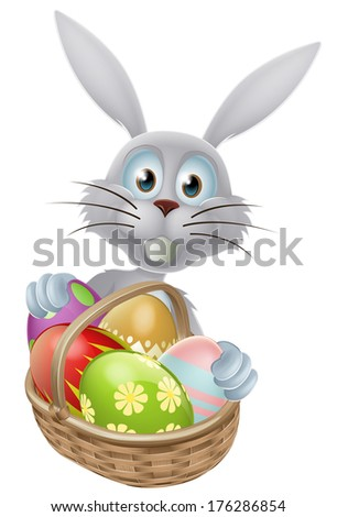 A white Easter bunny rabbit with a basket of decorated painted Easter eggs - stock vector