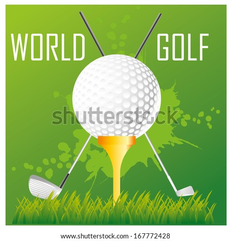 a white golf's ball with some text above it - stock vector