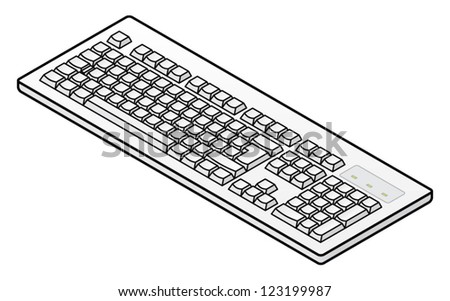 A white plain unlabelled classic-style keyboard - European layout.
