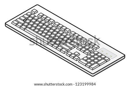 A white plain unlabelled classic-style keyboard - US layout.