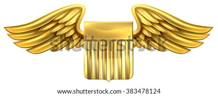 A winged gold golden metallic shield heraldic heraldry coat of arms design with United States flag stripes - stock vector