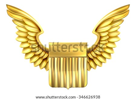 A winged gold metal shield design with United States flag stripes - stock vector