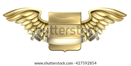 A winged metal shield heraldic heraldry coat of arms design with a banner scroll - stock vector