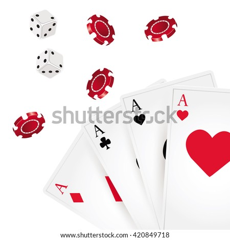 A winning poker combination of four aces playing cards on white background. - stock vector