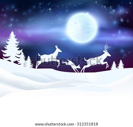 A winter Christmas scene featuring a deer family running in the snow in front of a big full moon in snow with Christmas trees - stock vector
