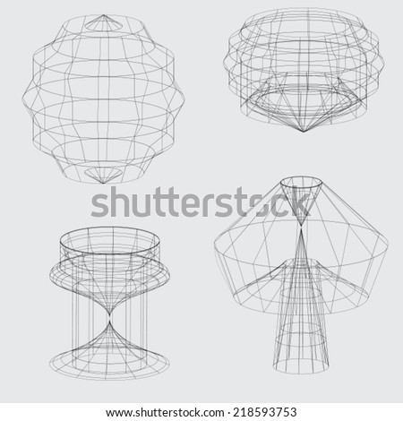 A Wireframe of various shapes on grey background