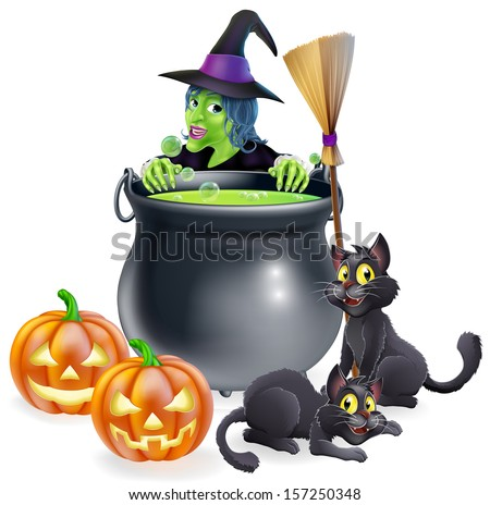 A witch Halloween scene with green witch peeking over a cauldron with broomstick, pumpkins and cats - stock vector