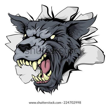 A wolf sports mascot or character breaking out of the background or wall - stock vector